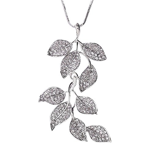 Twigs Light Pendant 5 (Merdia Long Chain Necklace for Women Twig and Leaves Pendant Sweater Necklace)