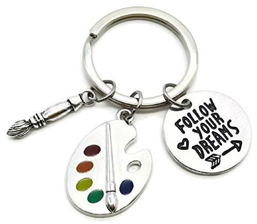 Artist Paint Palette Keychain, Paint Brush Keychain, Artist Keychain, Art Palette Charm Keychain, Paint Palette Charm, Paintbrush Charm, Artist Gift, Painter Gift, Artist Paint Palette Key Ring