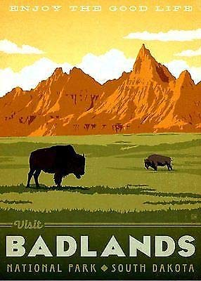 - MAGNET 3x4 inch Vintage Art Badlands Sticker -rv national park hike sd dakota np bumper Magnetic vinyl bumper sticker sticks to any metal fridge, car, signs