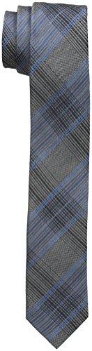 Calvin Klein Men's Platinum Suiting Plaid Slim Tie, Slate Blue, One Size