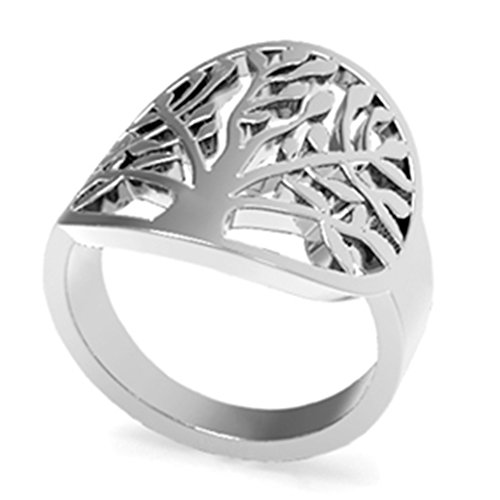Jude Jewelers Stainless Steel Tree of Life Ring (7) (Life Steel Stainless)