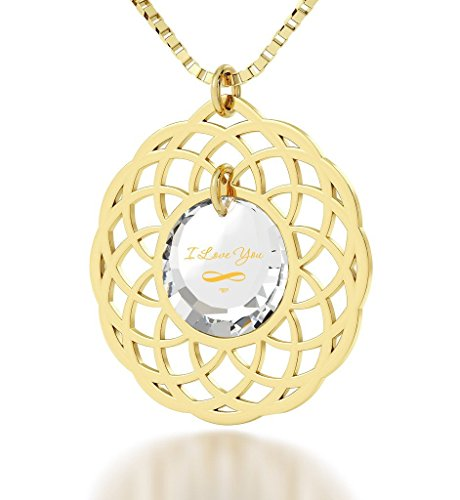 Gold Plated Mandala I Love You Infinty Pendant Necklace 24k Gold Inscribed on Clear Cubic Zirconia, 18