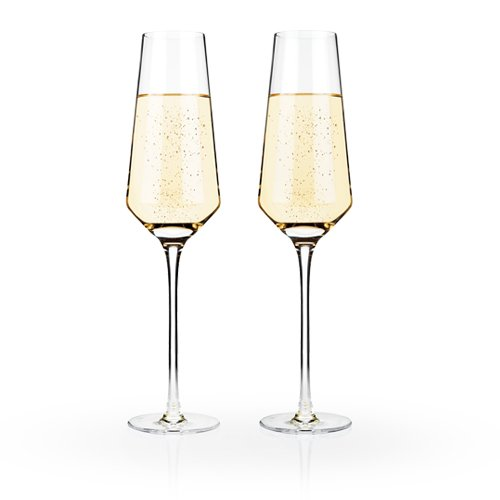 Raye Crystal Champagne Flutes by Viski – (8 oz., Set of 2) Rosé, Prosecco (Classic Champagne Collection)