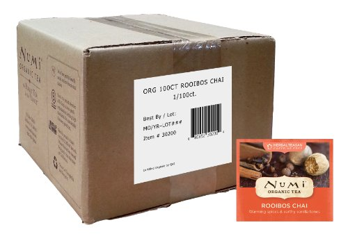 Red Tea Chai (Numi Organic Tea Rooibos Chai, 100 Count Box of Tea Bags, Caffeine Free Herbal Tea, Bulk Box of Bagged Organic Rooibos Tea Blended with Chai Spices, Premium Organic Non-Caffeinated Tisane, Red Tea)