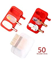 2PCS Silicone Popsicle Molds with Lid, Ice Pop Mold with 50 Wooden Sticks, Homemade Popsicle Makers Ice Cream Mold (Classic and Snowman, Red)