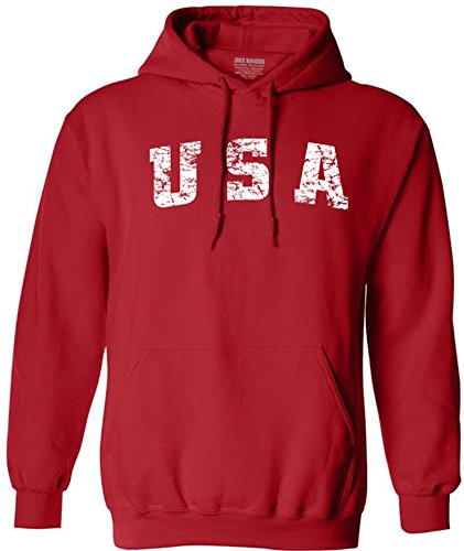 - Joe's USA tm Vintage USA Logo Hooded Sweatshirts-Large Red