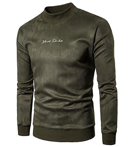 Warm Neck Green Men Long UK Casual Sweatshirts Sleeve Velvet Mock today Pullover 16nt4Hn