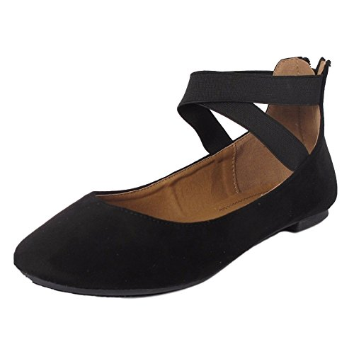 Wrap Around Ankle Strap (Women's Classic Ballerina Flats with Elastic Crossing Ankle Straps Ballet Flat Yoga Flat Shoes Slip On Loafers Black 6.5)