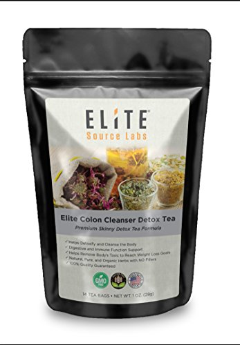 Elite Detox Colon Cleanse Herbal Tea – All Natural Diet Detox Organics Tea. Perfect to Cleanse and Detox Stomach as Natural Laxatives for Healthy Immune & Digestion System. 14 Herbal Detox Tea Bags Review