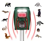PIGWO Animal Repellent Ultrasonic Outdoor- solar powered- Waterproof- Rodent Repeller- Effective & powerful