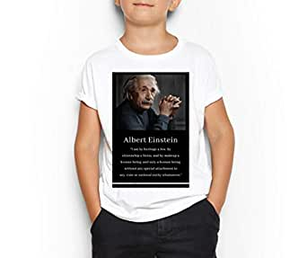 Albert Einstein White Round Neck T-Shirt For Kids 6-7 Years