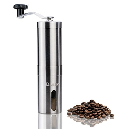 Manual Coffee Grinder – Conical Ceramic Burr Mill, Stainless Steel Hand Burr Coffee Grinder by DIMESHY with Travel Bag