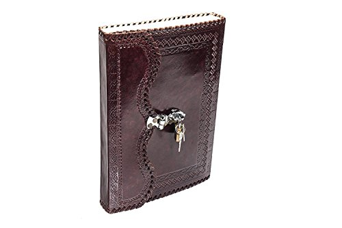 Handmade Goat Leather Journal Real Lock & Key Notebook Diary Sketch Book Thought Book 10x7Inches (Tree Of Life Journal Lock)