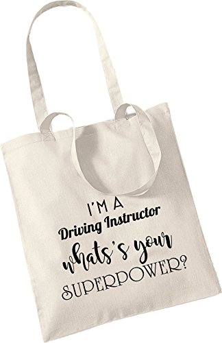 WHAT'S Keepsake YOUR Xmas Bag Cotton Bag Christmas SUPEROWER Tote I'M DRIVING INSTRUCTOR Beige A Present Gift S6InxaAt