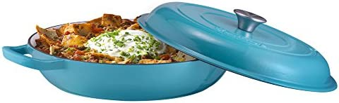 Enameled Cast Iron Shallow Casserole Braiser Pan with Cover, Cast Iron Covered Casserole Skillet 3.8-Quart, Marine Blue