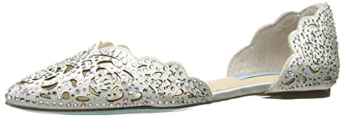 Blue by Betsey Johnson Women's Sb-Lucy Pointed Toe Flat, Ivory Satin, 5.5 M US by Betsey Johnson