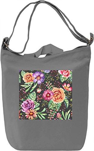 Watercolor Flowers Print Borsa Giornaliera Canvas Canvas Day Bag  100% Premium Cotton Canvas  DTG Printing 