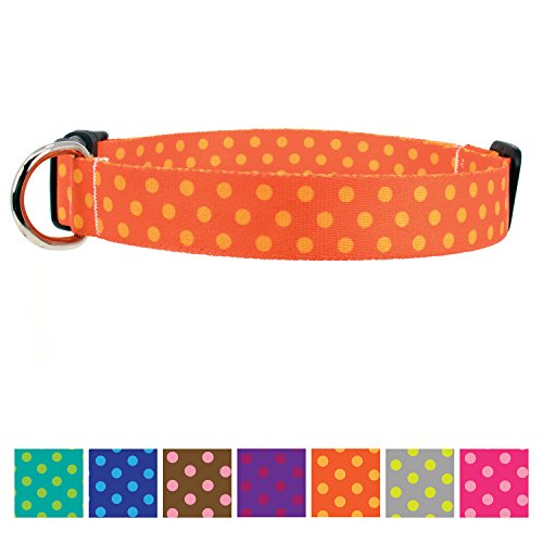 Buttonsmith Orange Dots Dog Collar - Fadeproof Permanently Bonded Printing, Military Grade Rustproof Buckle, Resistant to Odors & Mildew, Choice of 5 Sizes, Made in The USA ()