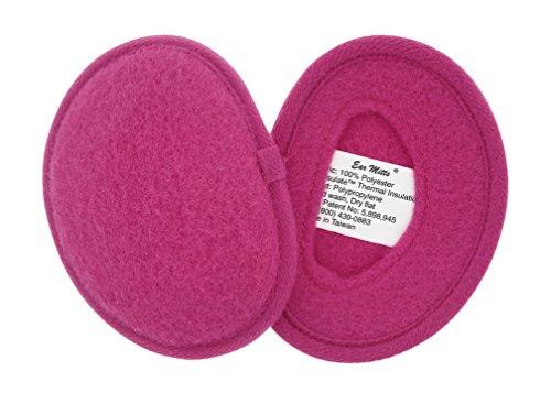 Ear Mitts Bandless Ear Muffs For Women, Bright Pink Fleece Ear Warmers, Regular