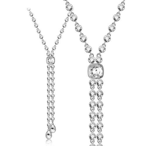 Iuha 18 18k White Gold Plated Austria Cz Diamond Precious Y-necklace-silver by IUHA