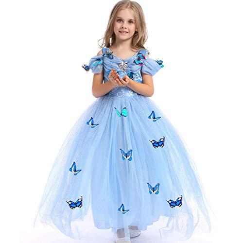 Girls Princess Cinderella Dress Fancy Dress Butterfly Girl Costume (3-4 Years) Blue ()