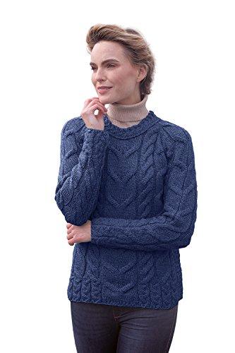 Carraig Donn Ladies Irish Multi Cabled Raglan Super Soft Merino Wool Sweater (Medium, Ink Blue)