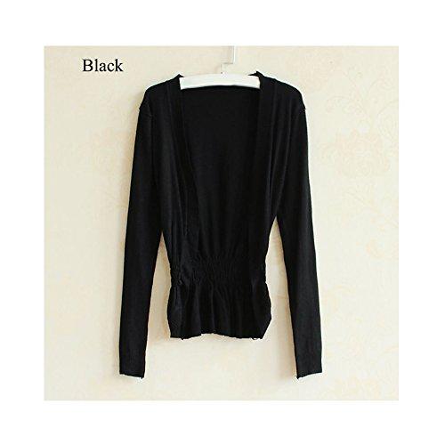 Best-topshop Women Korean Casual Cardigan Knit Tops Knitwear Coat Long Sleeve (Black)