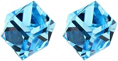 TAOTAOHAS Women's Cube Austrian Crystal Stud Earring Water Cube, Aurore Boreale Nickel Free
