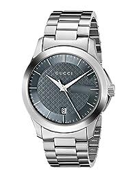 Gucci YA126441 Women's Timeless Wrist Watches, Grey Dial, Silver Band