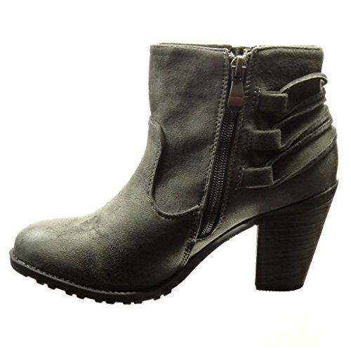 Angkorly - damen Schuhe Stiefeletten - Reitstiefel - Kavalier - Bommel - Franse Blockabsatz high heel 7 CM - Grau