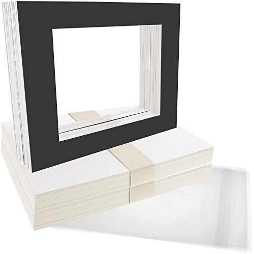 US Art Supply Art Mats Acid-Free Pre-Cut 8x10 Black Picture Mat Matte Sets. Includes a Pack of 50 White Core Bevel Cut Mattes for 5x7 Photos, Pack of 50 Backers & 50 Clear Sleeve Bags ()