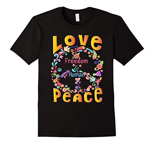 Mens PEACE SIGN LOVE T Shirt 60s 70s Tie Dye Hippie Costume Shirt XL Black 60s 70s Cotton