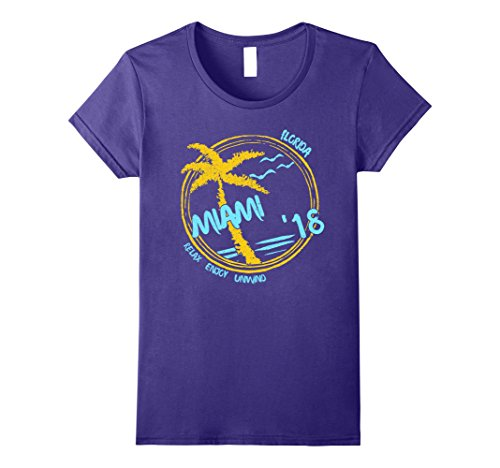 Womens Miami Beach Souvenir T-Shirt - Florida Gift Apparel Small - Beach Miami Women Of