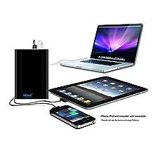 Lizone® Extra Pro 40000mAh Super Capacity Portable External Battery Adapter Charger for Apple MacBook Air, MacBook Pro, MacBook, PowerBook and iBook; HP Compaq Pavilion, Mini, ElifeBook, ProBook,Presario, Envy and G; IBM Lenovo ThinkPad and IdeaPad; USB Port for iPad Air, iPad mini,iPad and iPhone; Samsung Galaxy, Nexus , MOTO, G, LG, HTC and More -Aluminum UniBody, 18 Months Warranty Black 40000mAh