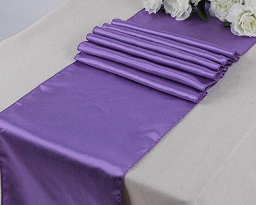 ONLINE WEDDING SUPPLY OWS Pack Of 10 Wedding 12 x 108 inch Satin Table Runner Wedding Banquet Decoration-Lavander
