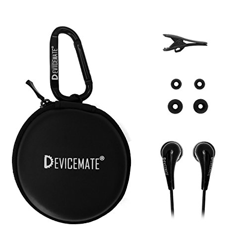 in-Ear Wired Earbuds Durable Earphones Headphones_Best Ear Buds Ear Phones for Cell Phone Smartphone Tablet MP3 MP4 CD DVD Player Laptop Notebook Computer. Earphone Case [Black] DEVICEMATE SD 255