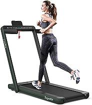 Goplus 2 in 1 Folding Treadmill with Dual Display, 2.25HP Under Desk Electric Pad Treadmill, Installation-Free
