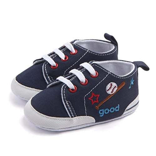 Hunpta Neugeborenes Kleinkind Baby Säuglings Mädchen Junge Weiche Anti Beleg Baseball zufällige Schuhe Dark Blue
