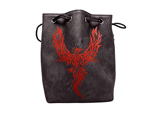 Black Leather Lite Large Dice Bag with Phoenix Design - Black Faux Leather Exterior with Lined Interior - Stands Up on its Own and Holds 400 16mm Polyhedral Dice