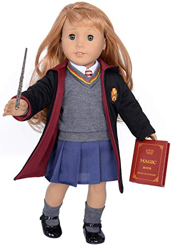 ebuddy 9pc/Set Hermione Inspired Doll Clothes Outfits for 18 inch American Girl Dolls Includes Shirt, Skirt, Sweater, Tie, Socks, Robe, Magic Wind, Imitate Book and Shoes