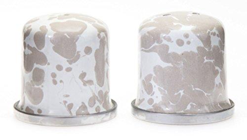 Enamelware, Set of salt & pepper shakers, 1½ inch diameter, 1¾ inch tall, Taupe Swirl