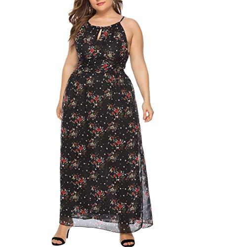 Eternatastic Womens Lace Floral Printed Dress Plus Size Halter Dress XL Black