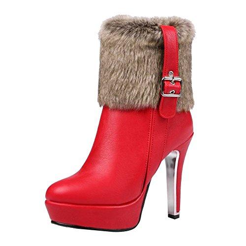 Carolbar Womens Plus Size Zip Faux Fur Sexy Buckle Platform High Heel Snow Boots Red