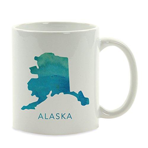 Alaska Mug - Andaz Press 11oz. US State Coffee Mug Gift, Aqua Blue Watercolor, Alaska, 1-Pack