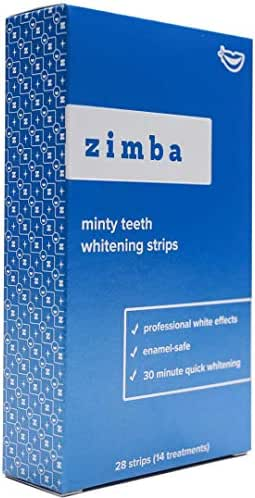 Zimba Professional Teeth Whitening Strips - 28 Strips, 14 Treatments - With Natural Mint Oil - Enamel-Safe, Reduced Sensitivity, Advanced Formula - Non-Slip, Premium Grip Technology (Mint)