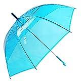 Uniumbrella Auto Open Transparent Clear Stick Rain Umbrella, Blue