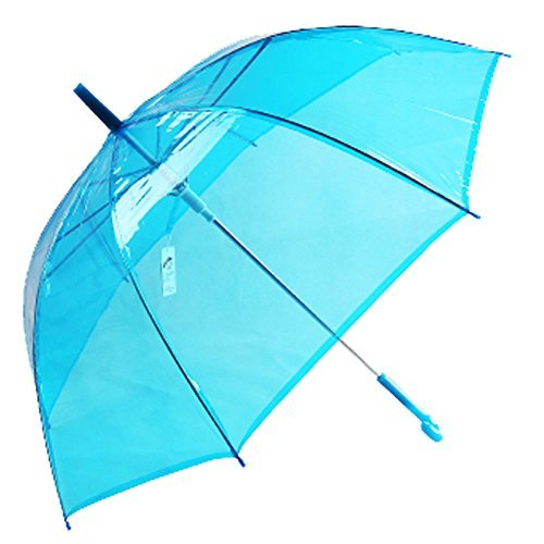 Uniumbrella Auto Open Transparent Clear Stick Rain Umbrella, Blue