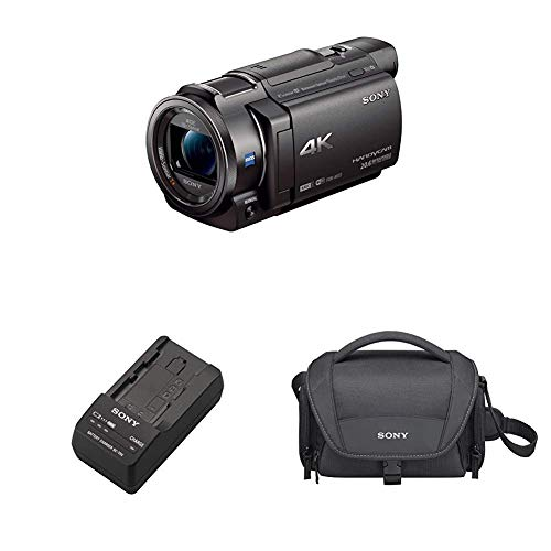 Sony 4K HD Video Recording FDRAX33 Handycam Camcorder with Carrying Case and Travel Charger