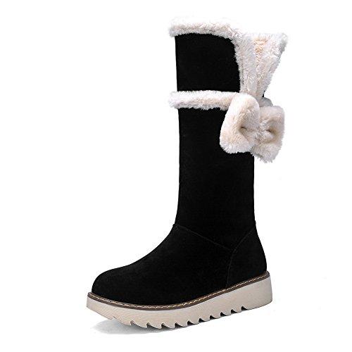 AdeeSu Girls Spun Gold Bowknot Platform Low Heels Frosted Boots Black rgTHVN