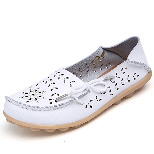 Maybest Women Hollow Out Work Comfort Leather Lace-Up Loafer Flats Pumps ( White 8 B (M) US (Gizeh White Leather)